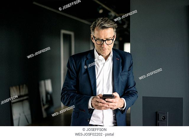 Mature businessman standing in office using cell phone