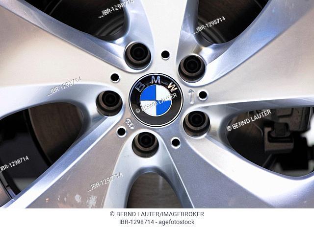 Car wheel with BMW logo at the IAA International Motor Show 2009, Frankfurt am Main, Hesse, Germany, Europe