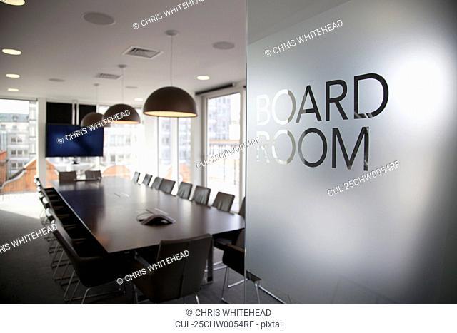Empty modern boardroom