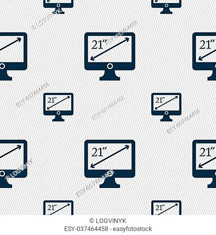 diagonal of the monitor 21 inches icon sign. Seamless pattern with geometric texture. illustration