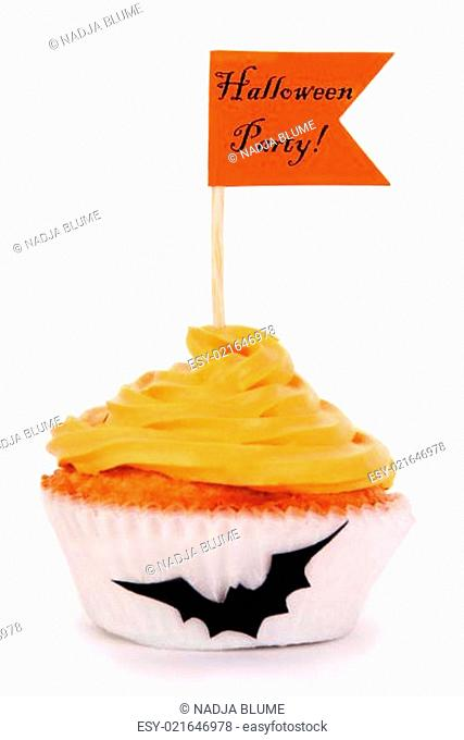 Cupcake with Holloween Party Flag