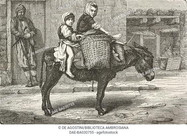 Woman and girl on a donkey returning from the Trabzon market, Turkey, drawing from Travels in Lazistan and in Armenia, 1869