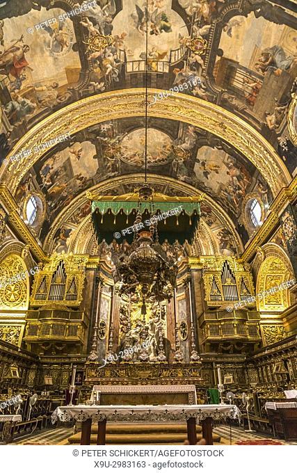 Roman Catholic Saint John's Co-Cathedral interior and Altar, Valletta, Malta