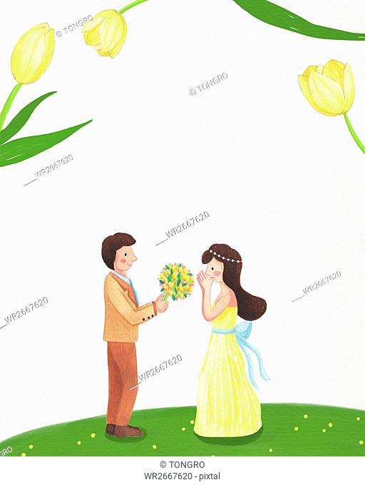 Romantic wedding couple with flowers standing face to face