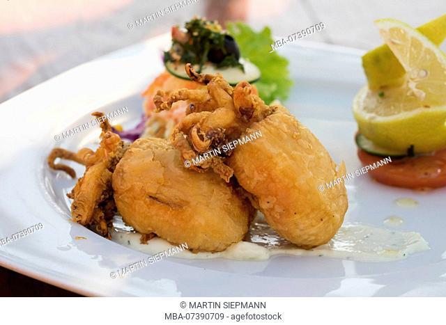 Chocos, deep-fried squids, Valle Gran Rey, La Gomera, Canary Islands, Canaries, Spain