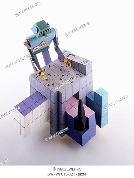 View of a robot and blocks