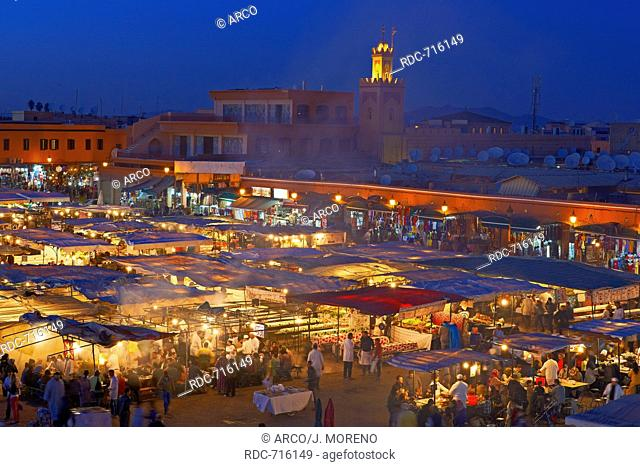 Djemaa El Fna Square, Marrakech, UNESCO Worlrd Heritage Site, Jemaa El-Fna square at Dusk, Morocco, Maghreb, North Africa