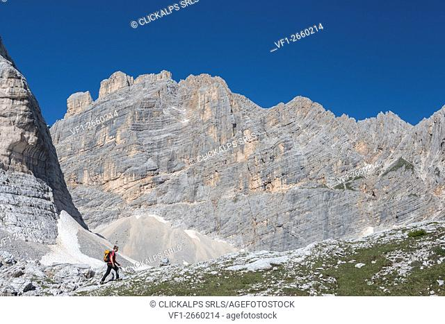 Sorapiss, Dolomites, Veneto, Italy. On the way in the Sorapiss mountain group with the peaks of Punta Nera