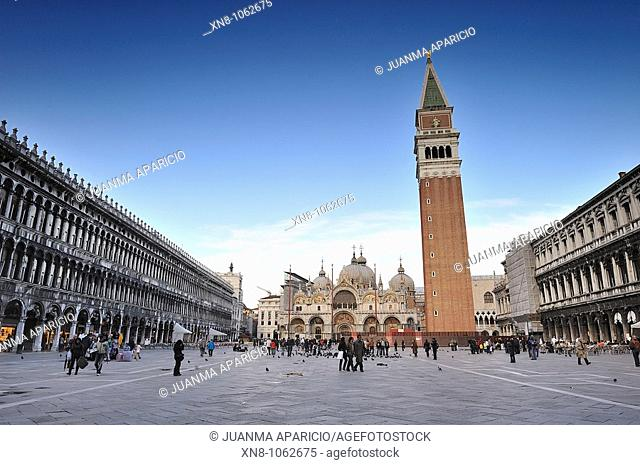 View of the Basilica and Piazza San Marco in Venice (Italy)