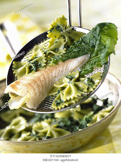Green Farfalle pasta with cod and green sauce