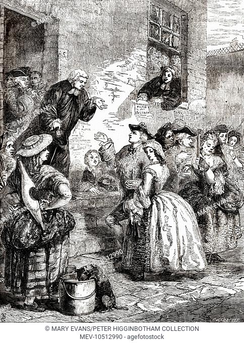 A minister takes money from a couple in the Liberty of the Fleet (the area around the Fleet Prison) - a notorious venue for clandestine marriages