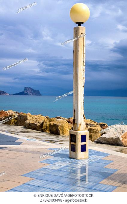 View of a streetlamp in Altea beach, Alicante north, Spain