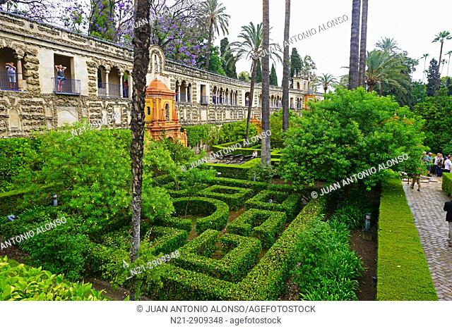 Partial view of the gardens of the Real Alcazar. Seville, Andalucia, Spain, Europe