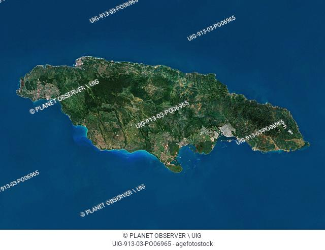 Satellite view of Jamaica. This image was compiled from data acquired by Landsat satellites