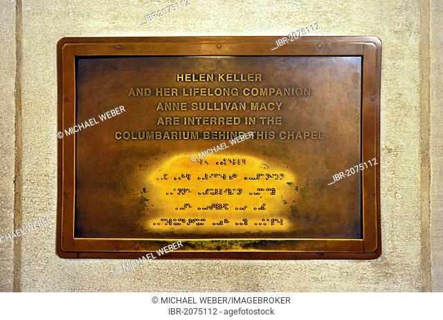 Grave of deaf-blind writer Helen Keller, braille, crypt, Washington National Cathedral or Cathedral Church of Saint Peter and Saint Paul in the diocese of...