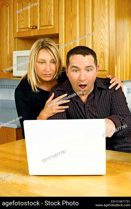 Young couple internet surprise