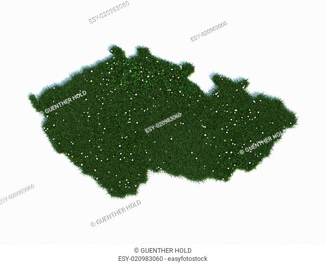 Map of Czech Republic Series Countries out of realistic Grass