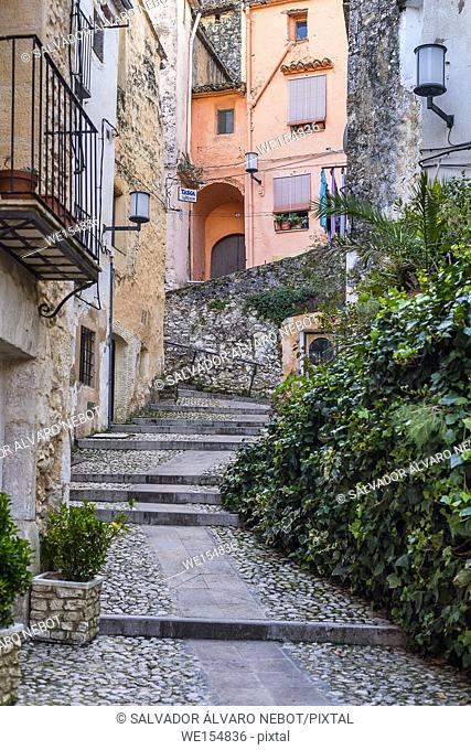 Cobbled street of Old Town, Bocairent, Valencian Community, Spain, Europe