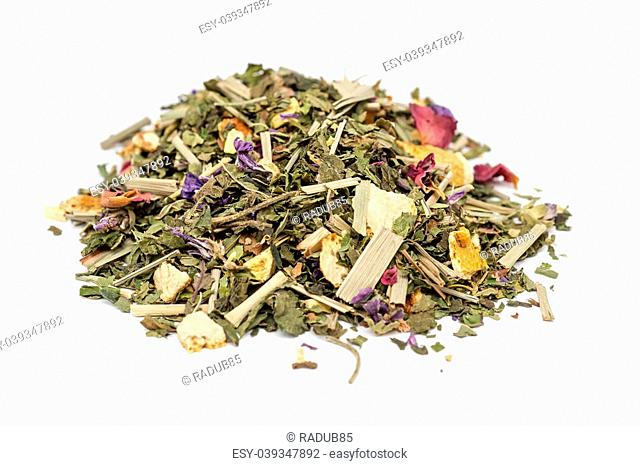Herbal Tea Pile On A White Background. Composition: Mint, Lemongrass, Orange, Sweet Wood Root, Rose Petals