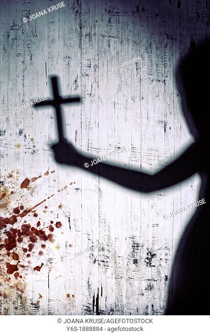 shadow of a person with a crucifix on a bloody white wall