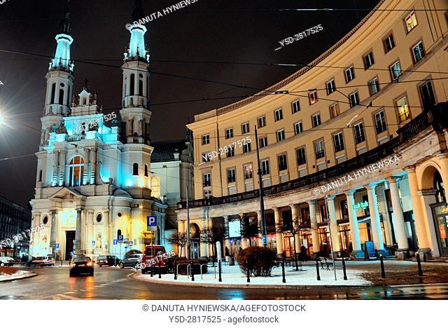 City center of Warsaw at night, Church of the Holiest Saviour, plac Zbawiciela -  Saviour Square seen from Nowowiejska street, Srodmiescie Poludniowe, Warsaw