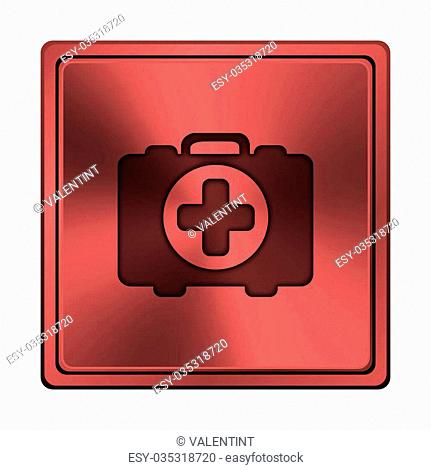 Square metallic icon with carved design on red background