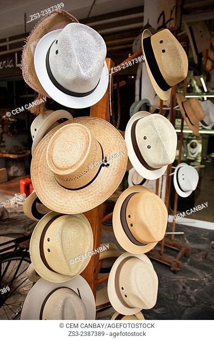 Hats for sale at the shop, Isla Mujeres, Cancun, Quintana Roo, Yucatan Province, Mexico, Central America