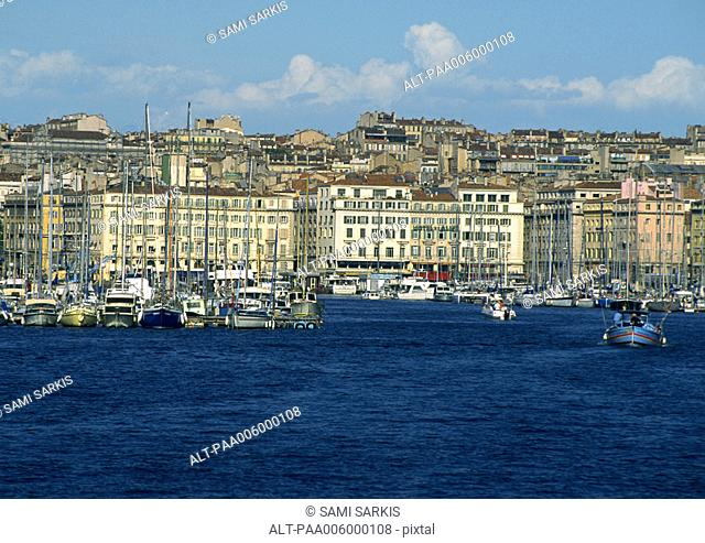 Marina view from sea, with buildings