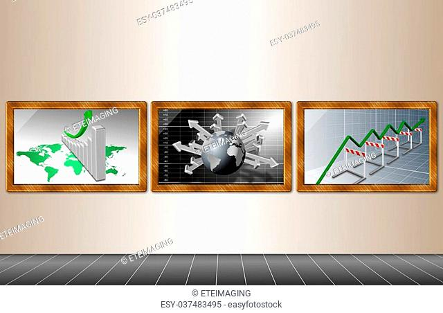Framed business illustrations hanging on a wall