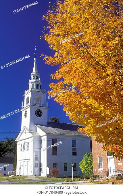 white church, Hancock, NH, New Hampshire, First Congregational Church in the town of Hancock in the autumn