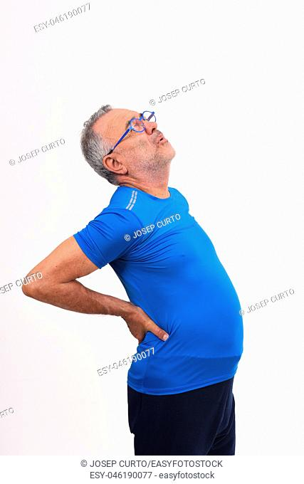 man with pain in the back on white background