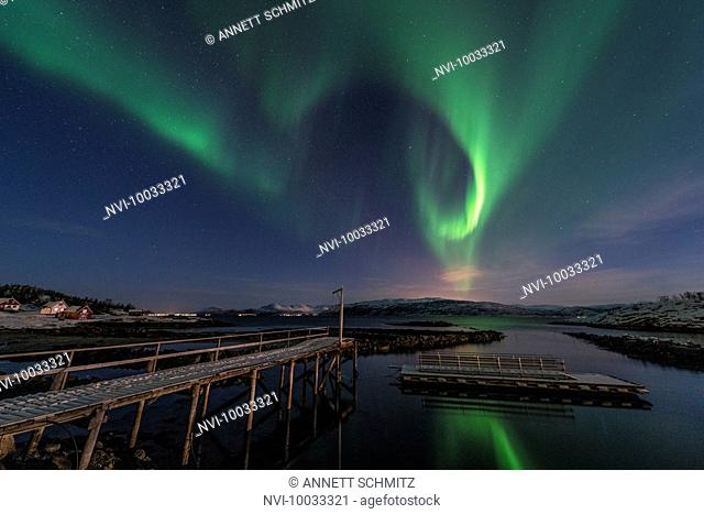 Northern lights over Baltsfjord at night, Senja, Norway
