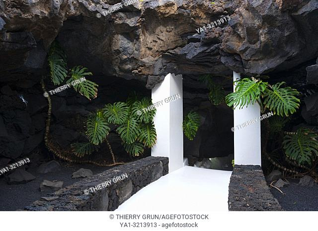 Spain, Canary islands, Lanzarote island, Tahiche, Foundation Cesar Manrique, house made by Manrique to include lava rocks in house architecture