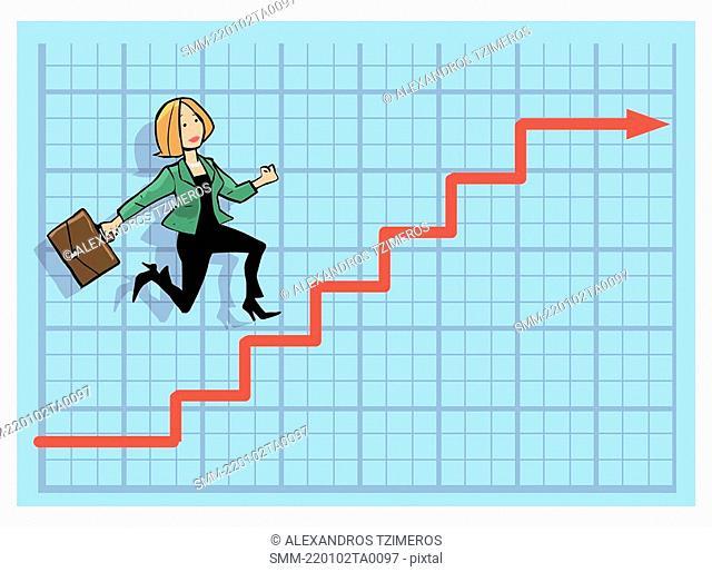 Businesswoman climbing up the stock chart arrow