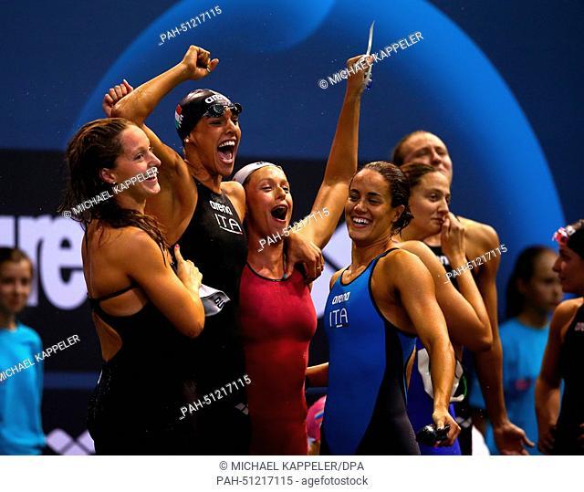Alice Mizzau, Erika Ferraioli, Giada Galizi, Federica Pellegrini ofItaly react after placed third in the Women's 4X100m Freestyle Final at the 32nd LEN...
