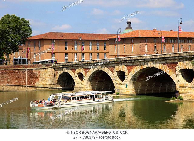 France, Midi-Pyrénées, Toulouse, Pont Neuf, bridge, Garonne River