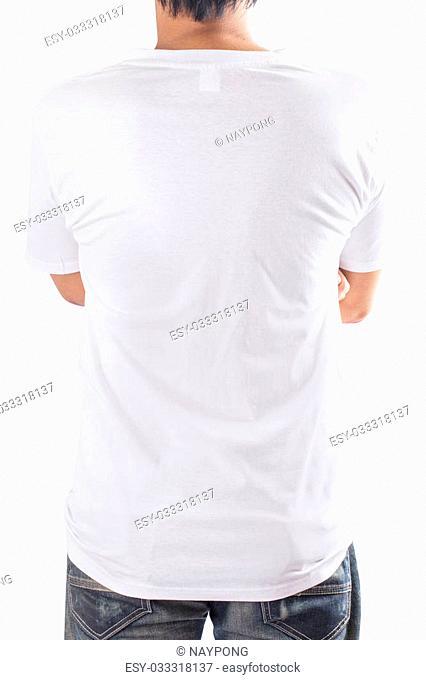 White t-shirt on a man