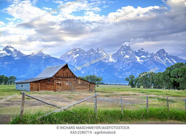 T. A. Moulton Homestead, dates from 1890's, barn, Morman Row, Grand Teton National Park, Wyoming, USA