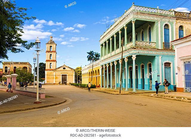 Church Virgen del Buen Viaje, colonial houses, Remedios, Santa Clara Province, Cuba