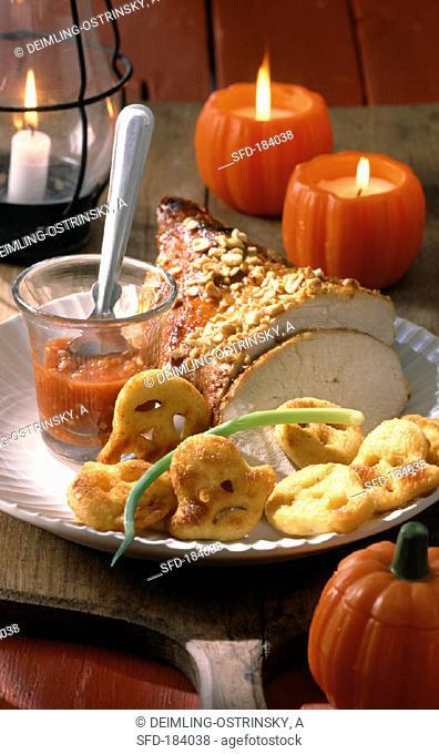 Roast turkey with devilish sauce and ghost potatoes