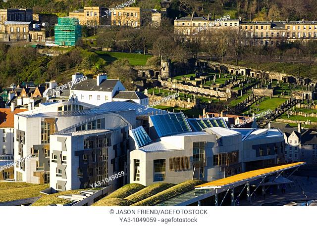 Scotland, Edinburgh, Holyrood  Home of the Scottish Parliament, the design of the Holyrood building was described as 'growing out of the land' by architect...