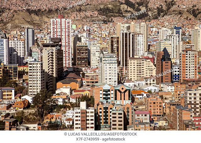 Panoramic view of downtown, La Paz, Bolivia