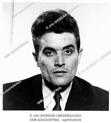 Rene Noel Girard, Portrait photograph, Shoulders up, Full face, c 45 years of age, 1965
