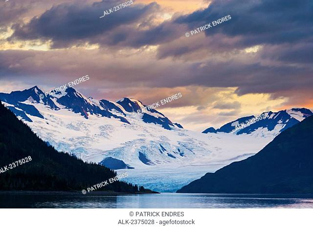 Sunset over the Chugach mountains and Harriman tidewater glacier, Chugach National Forest, Prince William Sound, Southcentral Alaska