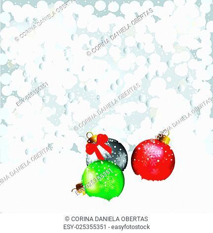 Vector Christmas card with Christmas baubles under the snowfall