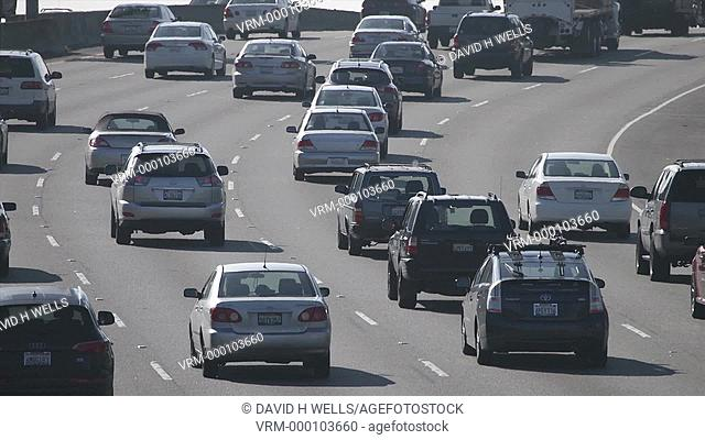 Time-lapse animation of freeway traffic in Los Angeles, California