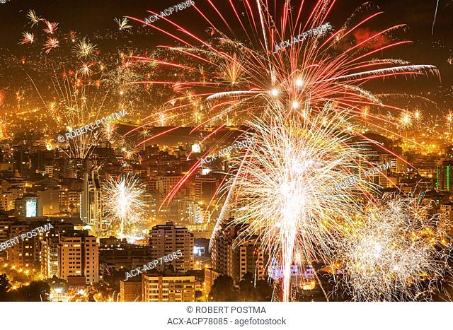 A one minute exposure of New Years Eve fireworks over Cochabamba, Bolivia