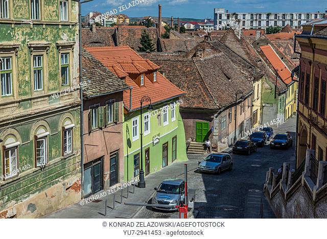 Ocnei Street in Historic Center of Sibiu city, Romania. View with Casa Astronomului (Astronomer's house) guest house