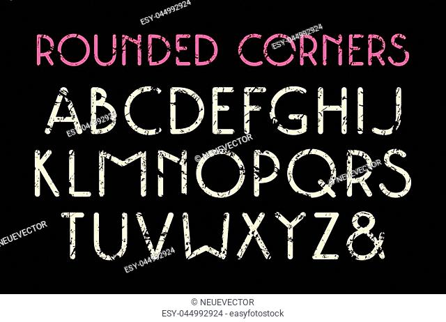 Decorative sans serif font with rounded corners. Typeface in thin line style with shabby texture. Print on black background