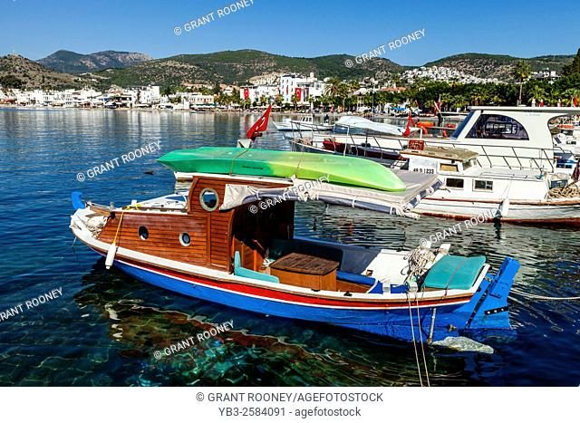 Colourful Fishing Boats In The Harbour At Bodrum, Mugla Province, Turkey